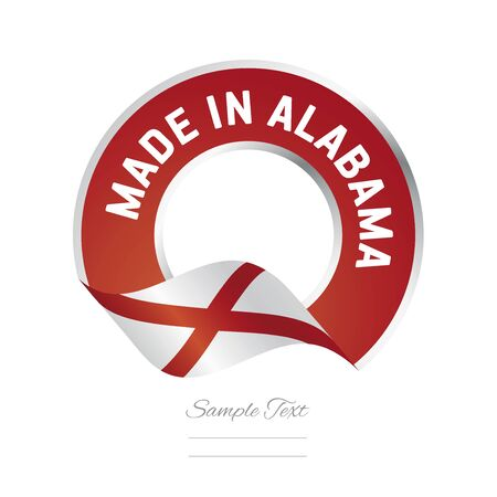 color in: Made in Alabama flag red color label logo icon