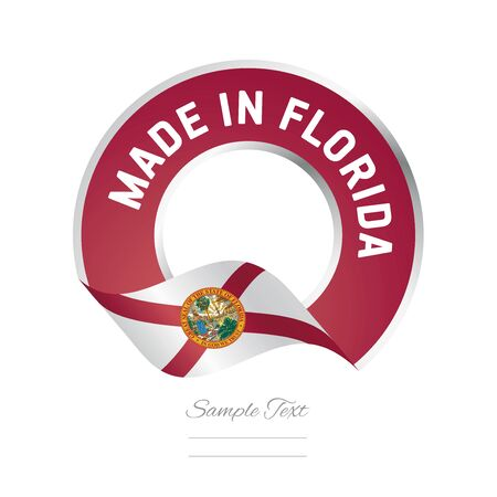 Made in Florida flag red color label logo icon