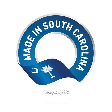 Made in South Carolina flag blue color label logo icon Vectores