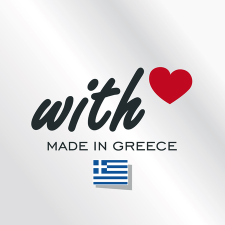 With Love Made in Greece logo silver background Illustration