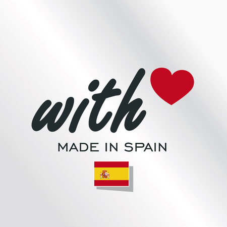 With Love Made in Spain logo silver background Vectores