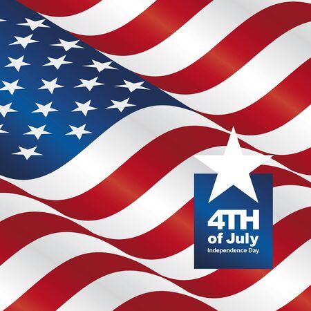 独立記念日 7 月米国旗グリーティング カードの第 4 回