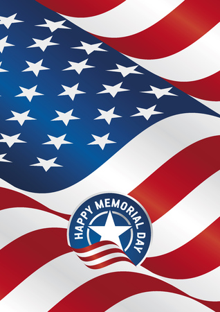 Happy Memorial Day USA flag ribbon portrait banner