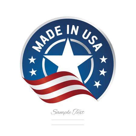 Hecho en icono de logotipo de etiqueta de color de cinta de bandera de Estados Unidos Logos