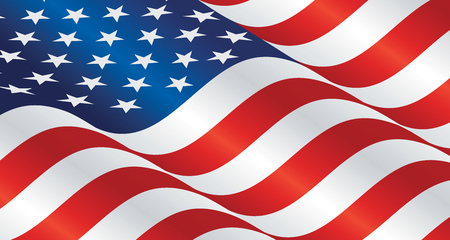 USA wavy flag landscape background