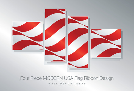 wall decor: Four piece USA flag ribbon wall decor design
