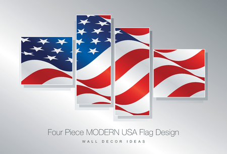 wall decor: Four piece USA flag wall decor design Illustration