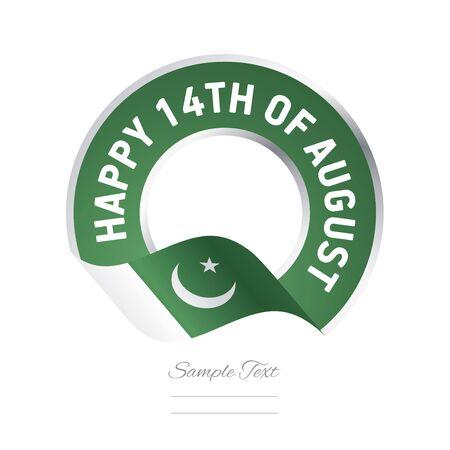 fourteen: Happy 14th August Pakistan flag color label logo icon
