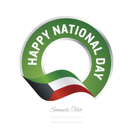 Happy National Day Kuwait flag color label logo icon