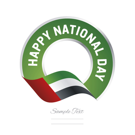 Happy National Day UAE flag color label logo icon
