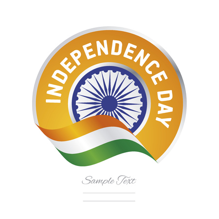 Independence Day India flag ribbon color label logo icon