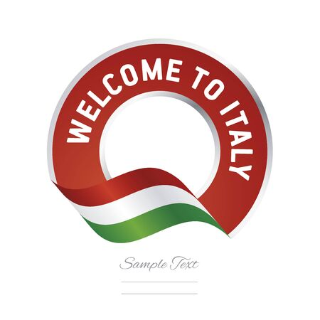 Welcome to Italy flag red label logo icon