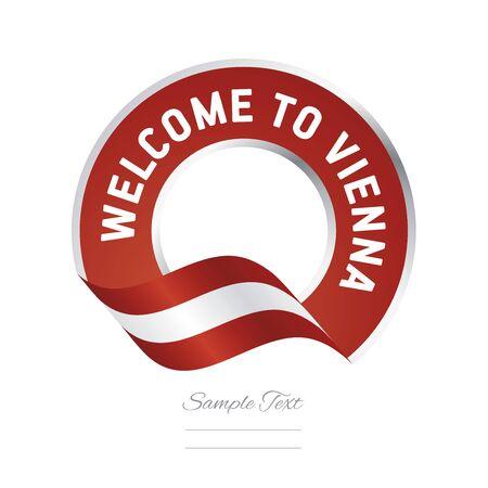 Welkom bij Wenen Oostenrijk vlag logo pictogram Stock Illustratie