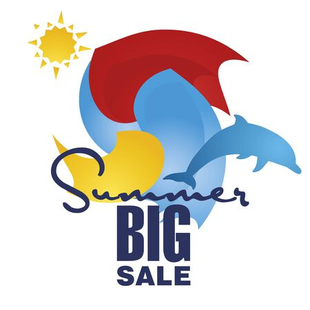 commission: Big summer sale discount offer dolphin Illustration
