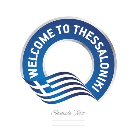 Welcome to Thessaloniki Greece flag logo icon Illustration
