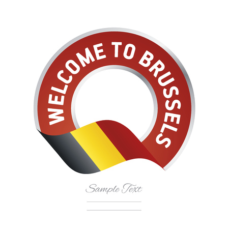 exploring: Welcome to Brussels Belgium flag logo icon