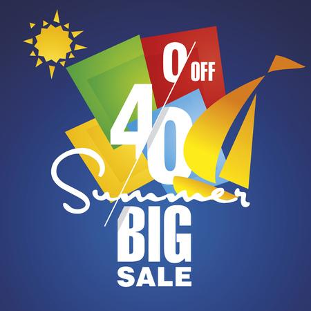 commission: Big Summer sale 40 percent off discount sailboat blue background Illustration