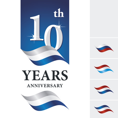 Anniversary 10 th years celebrating logo silver white blue ribbon
