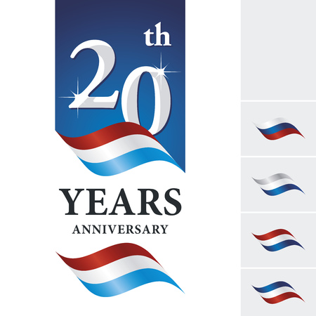 numbers background: Anniversary 20 th years celebrating logo red white blue ribbon