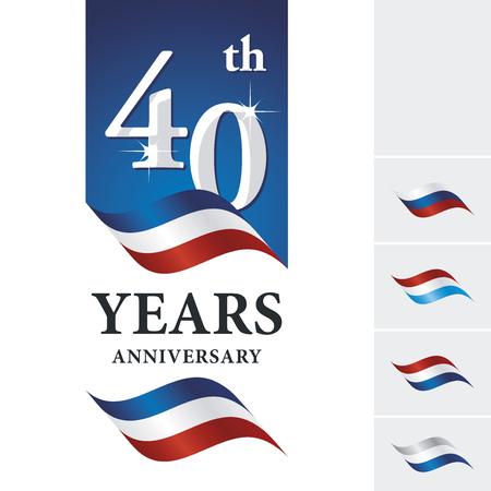 Anniversary 40 th years celebrating logo blue white red ribbon