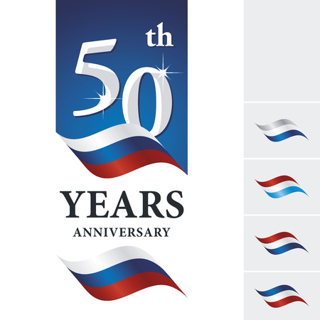 Anniversary 50 th years celebrating logo white blue red ribbon Çizim
