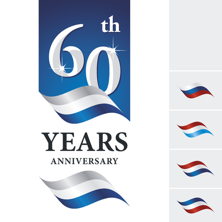 60th: Anniversary 60 th years celebrating logo silver white blue ribbon