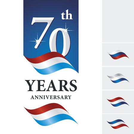 Anniversary 70 th years celebrating logo red white blue ribbon Logó