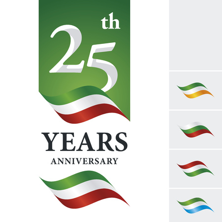25th: Anniversary 25 th years celebrating logo green white red ribbon