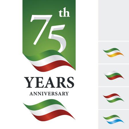 Anniversary 75 th years celebrating logo green white red ribbon