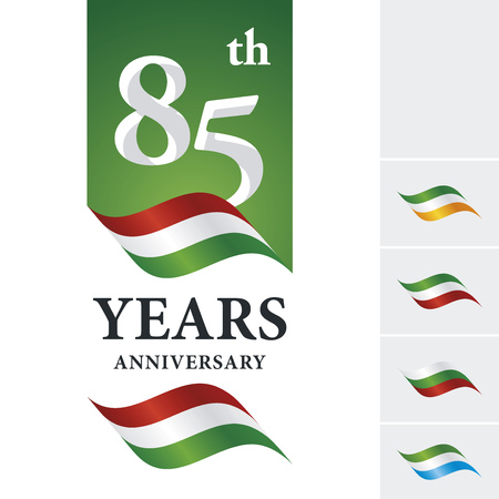 numbers background: Anniversary 85 th years celebrating logo red white green ribbon