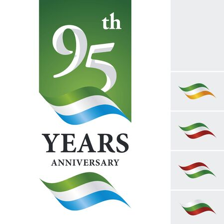 numbers background: Anniversary 95 th years celebrating logo green white blue ribbon Illustration