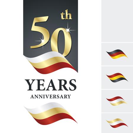 Anniversary 50 th years celebrating logo white gold red ribbon Vettoriali