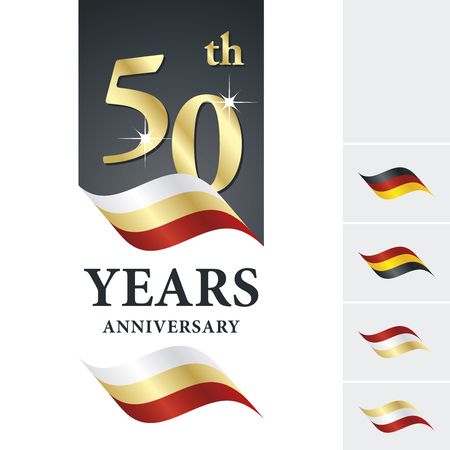Anniversary 50 th years celebrating logo white gold red ribbon Çizim