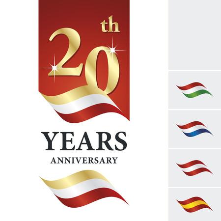 20th: Anniversary 20 th years celebrating logo gold white red ribbon