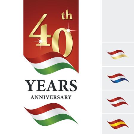 Anniversary 40 th years celebrating logo red white green ribbon