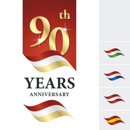 90th: Anniversary 90 th years celebrating logo red white gold ribbon