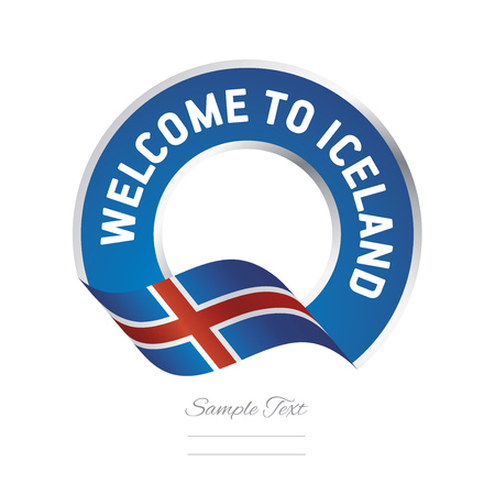silver background: Welcome to Iceland flag blue label logo icon