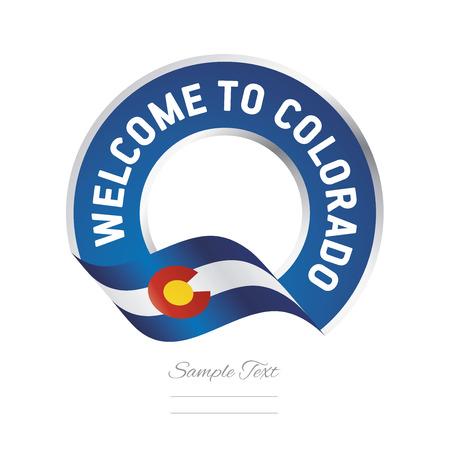 Welcome to Colorado flag blue label logo icon Çizim