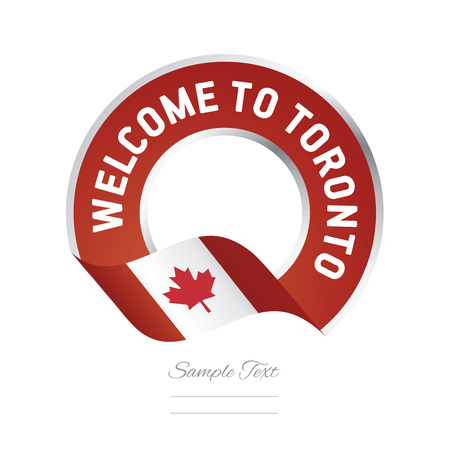 canada stamp: Welcome to Toronto Canada flag logo icon