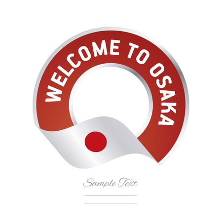 asian business: Welcome to Osaka Japan flag logo icon