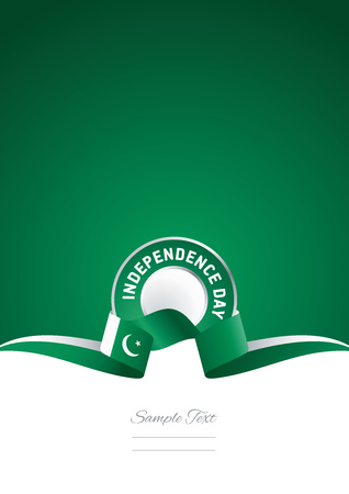 14th: Independence Day Pakistan ribbon green background