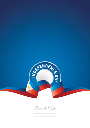 Independence Day Philippines ribbon blue background