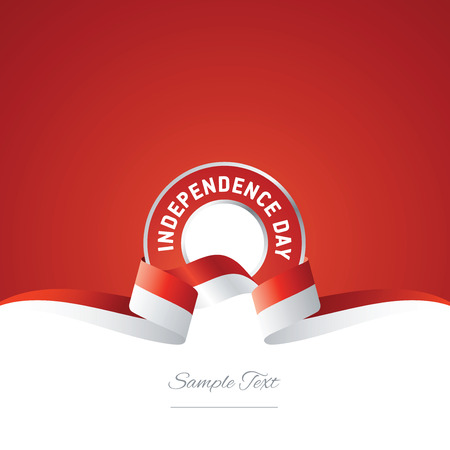 Indonesia Independence Day ribbon logo icon