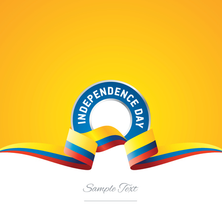 Colombia Independence Day ribbon logo icon