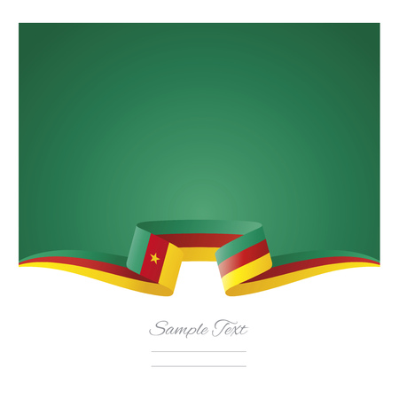 Abstract background Cameroon flag ribbon Illustration