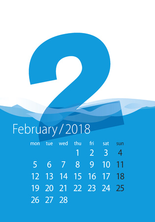 2018 Calendar month February water blue