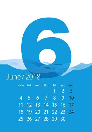 2018日历月6月水蓝
