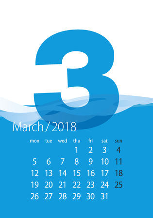 2018 Calendar month March water blue