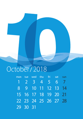 2018 Calendar month October water blue