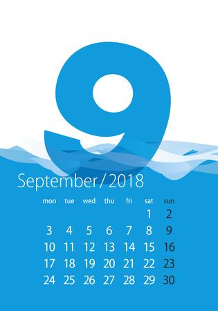 Miesiąc kalendarzowy 2018 wrzesień woda niebieski